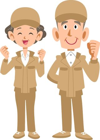 Senior man and woman in beige work clothes