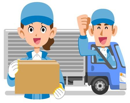 Female and male truck drivers with luggage Stock Illustratie