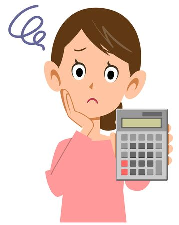 Woman worried with a calculator