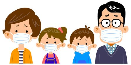 Family with troubled face wearing mask 矢量图像