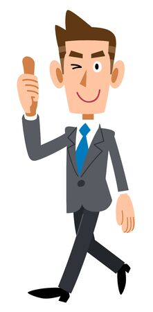 Business man, thumbs up, walking Ilustración de vector