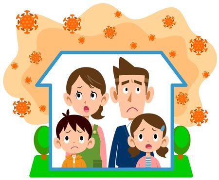 Family waiting at home due to coronavirus