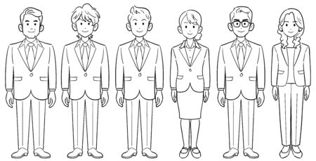 Set of 6 anonymous business persons men and women without poses