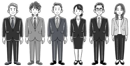 Set of 6 business persons men and women without poses