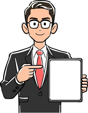 Businessman with glasses pointing at tablet PC with blank screen