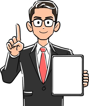 A businessman with glasses holding a tablet PC with a blank screen and pointing with his index finger to explain