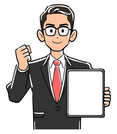 Businessman with glasses holding a tablet PC with a blank screen and posing guts