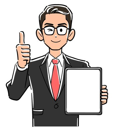 A businessman with glasses holding a tablet PC with a blank screen and thumbs up
