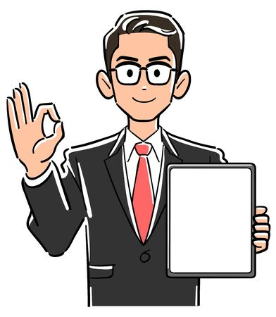 Businessman with glasses holding a tablet PC with a blank screen and giving an OK sign Ilustração