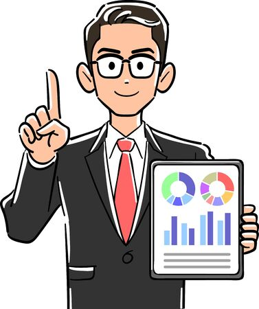 A businessman with glasses holding a tablet PC and pointing with his index finger to explain
