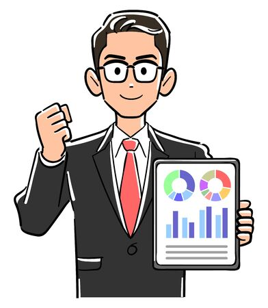 Businessman with glasses holding a tablet PC and doing guts pose