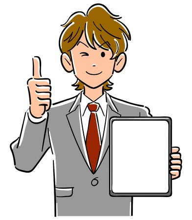 Businessman holding a tablet PC with a blank screen and thumbs up Vectores