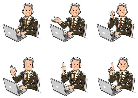 A businessman in a management position who turns his  face to the front while operating a computer Set of 6 types