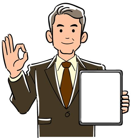 A manager man in a suit holding a tablet PC with a blank screen and giving an OK sign