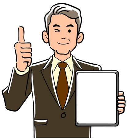 A management man in a suit holding a tablet PC with a blank screen and thumbs up Vectores
