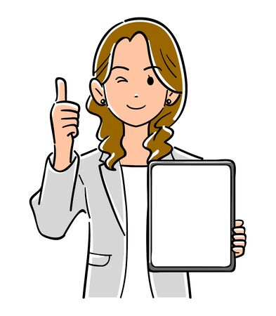 A woman in a suit holding a tablet PC with a blank screen and thumbs up