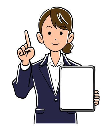 A woman in a suit holding a tablet PC with a blank screen and pointing her index finger Ilustração