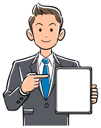 Businessman pointing at tablet PC with blank screen Ilustração