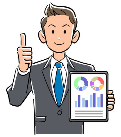 Businessman holding a tablet PC and doing thumbs up