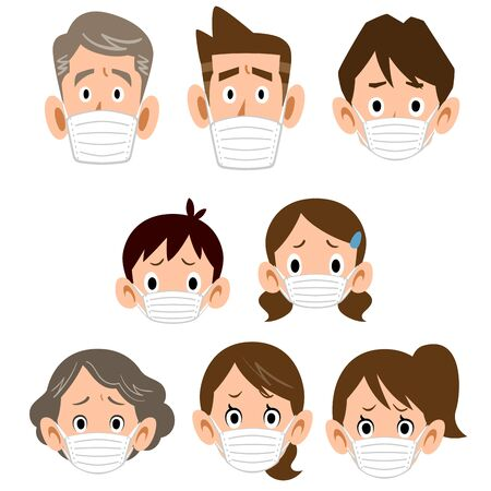 Three generations family with mask troubled facial expression icon