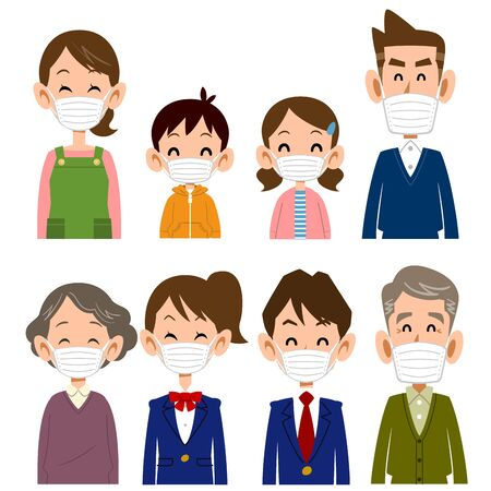 Family smile with mask on upper body  イラスト・ベクター素材