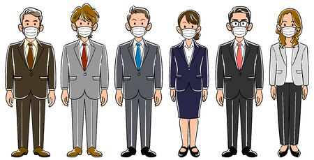 Set of 6 business persons with masks Men and women without poses