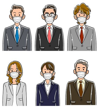 Upper body of six business team wearing masks