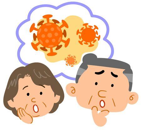 Senior couple thinking about virus Vettoriali