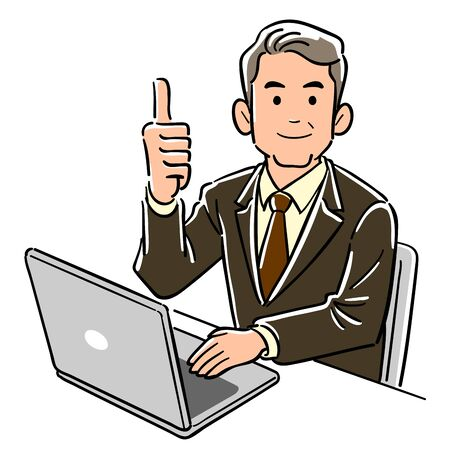 A businessman in a managerial position who operates a personal computer raises the thumbs up