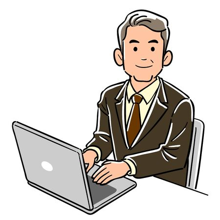 Business man operating a personal computer