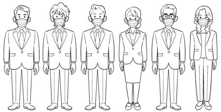 Set of 6 business people with masks no pose men and women Ilustração