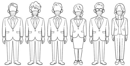 Set of six anonymous business people with masks-men and women without poses Ilustração