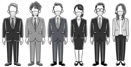 Set of six anonymous business people with masks-men and women without poses 向量圖像