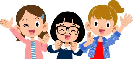 Cheerful girls upper body Vector Illustration