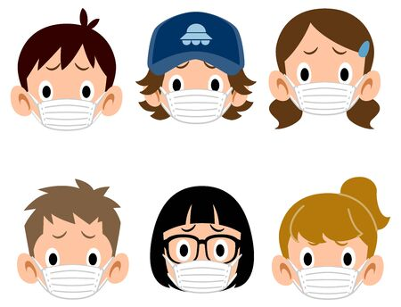 The troubled faces of six types of children wearing masks 矢量图像