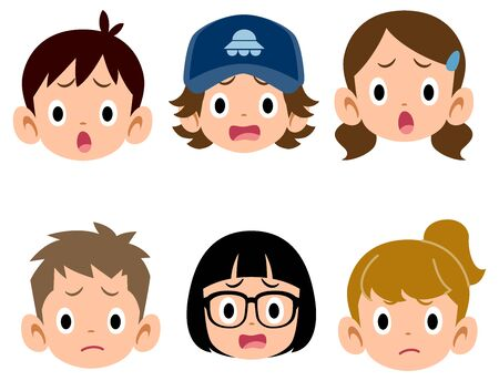 6 types of children's troubled faces 矢量图像