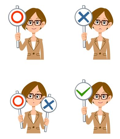 Working woman with glasses holding correct and incorrect answers