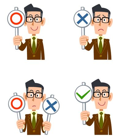 A man in glasses wearing a brown jacket with correct and incorrect answers  イラスト・ベクター素材