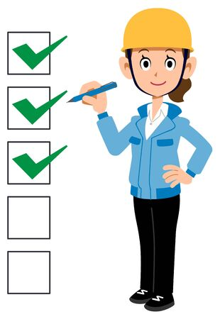 Frau in Arbeitskleidung mit ausgefüllter Checkliste