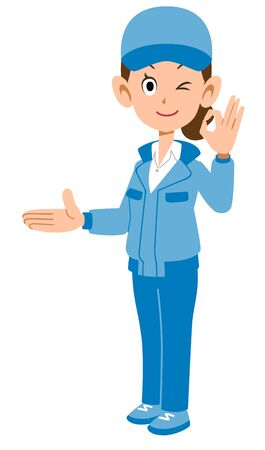 A woman in blue work clothes showing the right side and showing an OK sign Ilustração