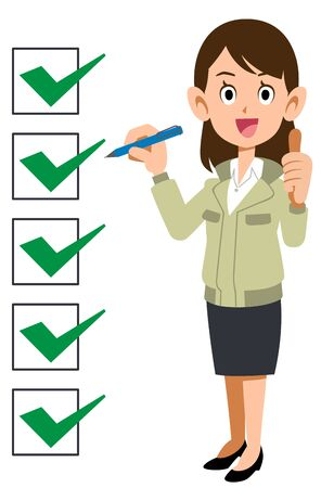 Woman in workwear with completed checklist Stock Illustratie