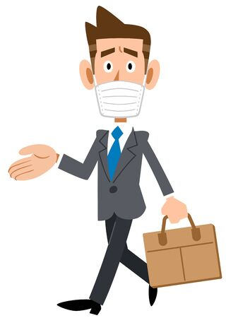 Businessman wearing a mask and commuting to work