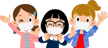 The upper body of a healthy girl wearing a mask
