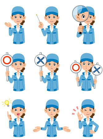 Upper body of a woman in blue work clothes: different 9 facial expressions and gestures