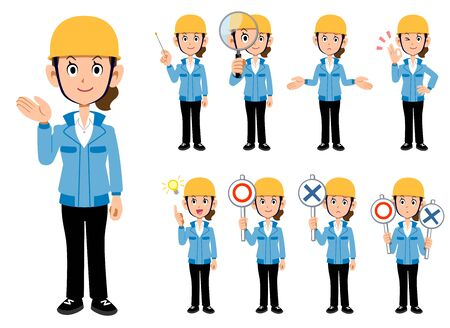 Construction industry, woman in blue work clothes, a set of 9 poses