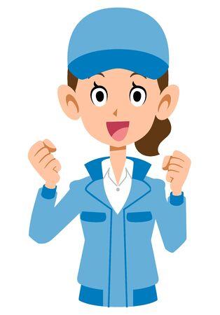 Woman in cheerful blue workwear