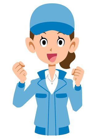 Woman in cheerful blue workwear