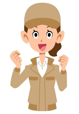 Woman in cheerful beige workwear Vettoriali