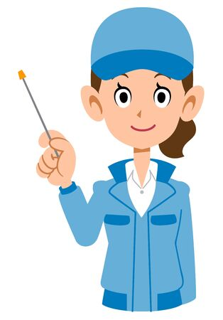 Upper body of a woman in blue work clothes with a pointing stick