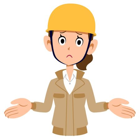 A woman wearing a beige workwear and wearing a helmet is amazed